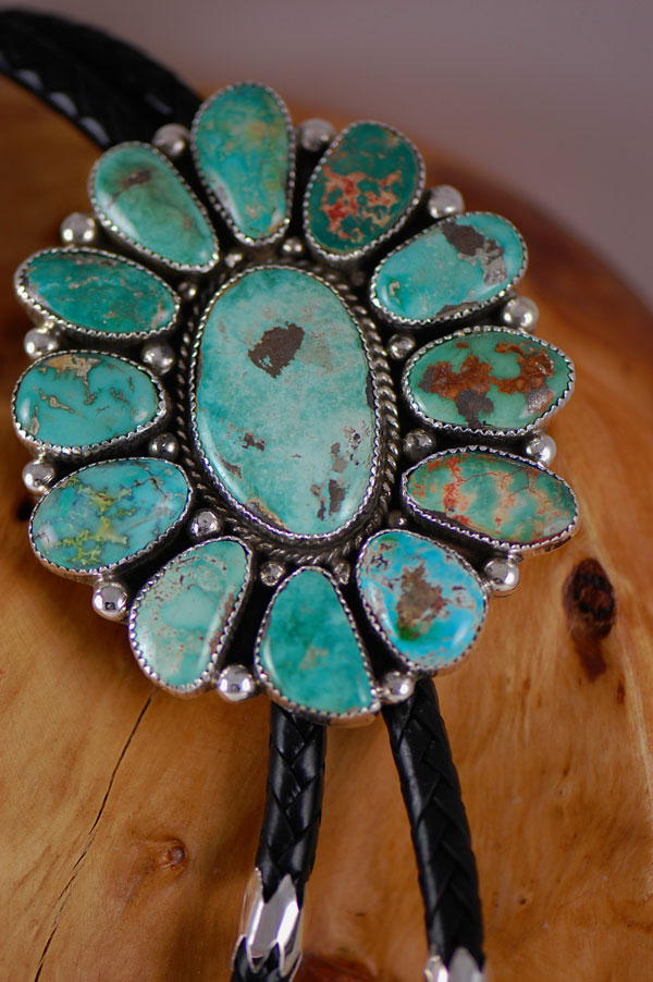 Navajo –Large High Grade Natural Royston Turquoise Sterling Silver Bolo Tie with Hand Made Sterling Silver Tips and Sleeves by Loren Begay