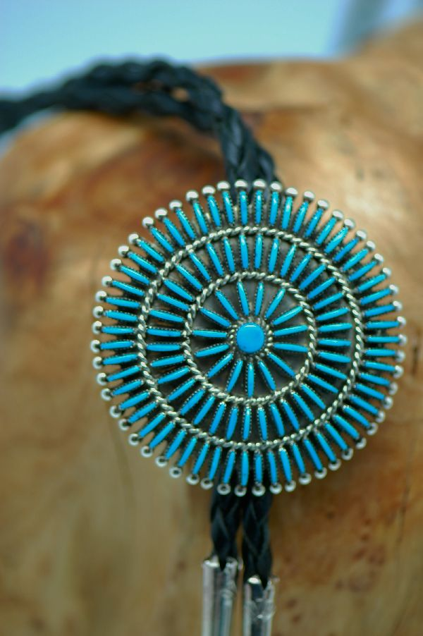 Zuni � Exquisite Needle Point and Petite Point Turquoise Sterling Silver Bolo Tie with Sterling Silver Tips by Eva L Wyaco