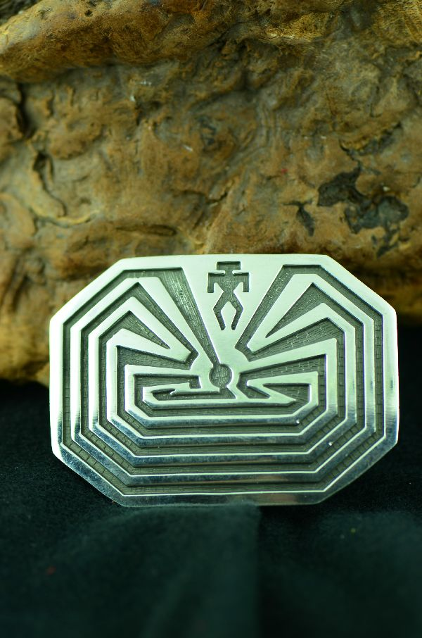 Hopi - Sterling Silver Man in the Maze Belt Buckle (From a Private Collection)
