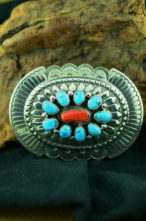 Navajo - Sterling Silver Morenci Turquoise and Natural Mediterranean Coral Belt Buckle by Will Denetdale(From a Private Collection)