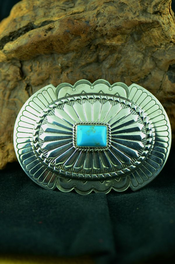 Navajo - Sterling Silver Morenci Turquoise Belt Buckle by Will Denetdale(From a Private Collection)