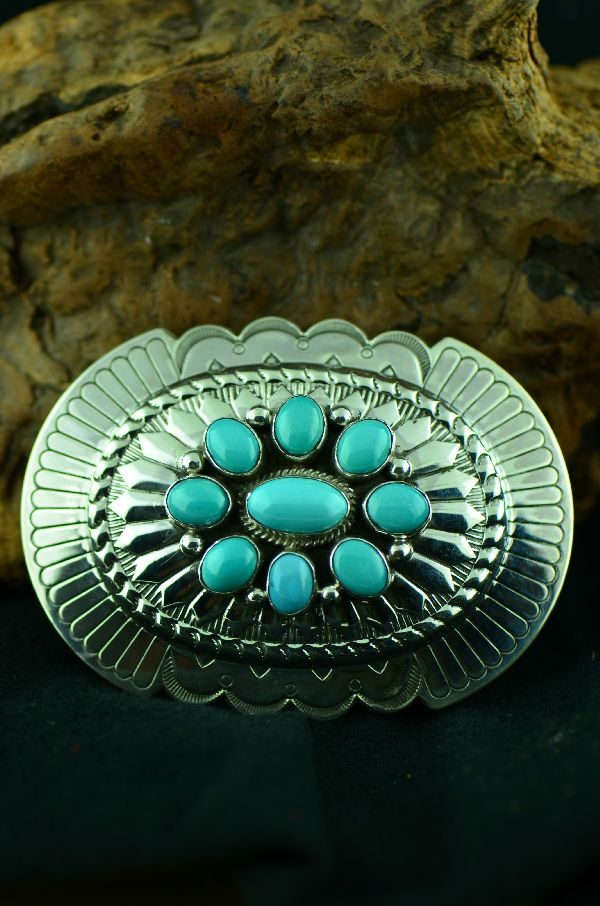 Navajo - Sterling Silver Morenci Turquoise Cluster Belt Buckle by Will Denetdale(From a Private Collection)