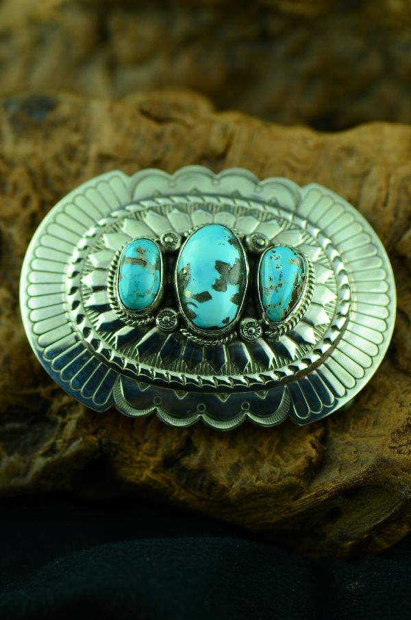 Navajo - Sterling Silver Darling Darlene Turquoise Belt Buckle by Will Denetdale(From a Private Collection)