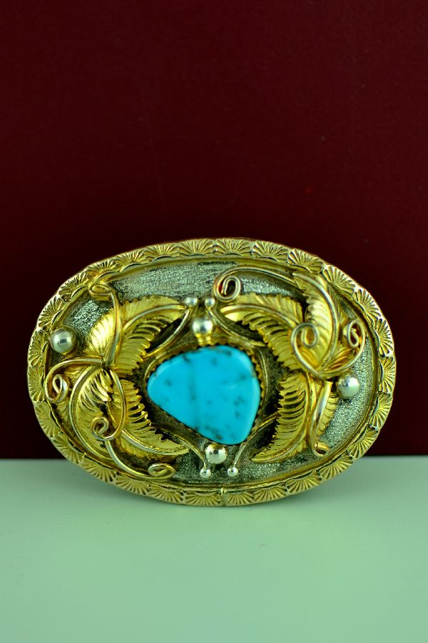 Sterling Silver and 12ktGF Morenci Turquoise Belt Buckle by Alvin Vanderver  (From a Private Collection)
