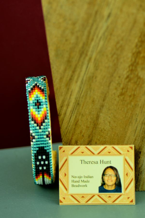 Navajo Traditional Children's Prayer Feather Beaded Bracelet by Theresa Hunt