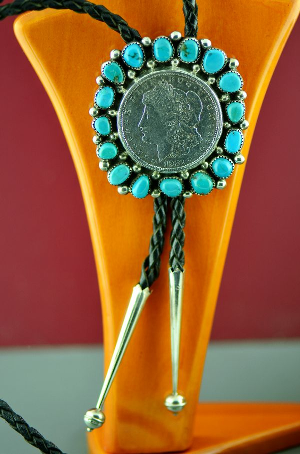 Navajo – Exquisite Heavy Weight Sterling Silver High Grade Natural Kingman Turquoise Cluster Bolo Tie with a 1921 Silver Dollar by Cecelia Bighand (From a Private Collection)