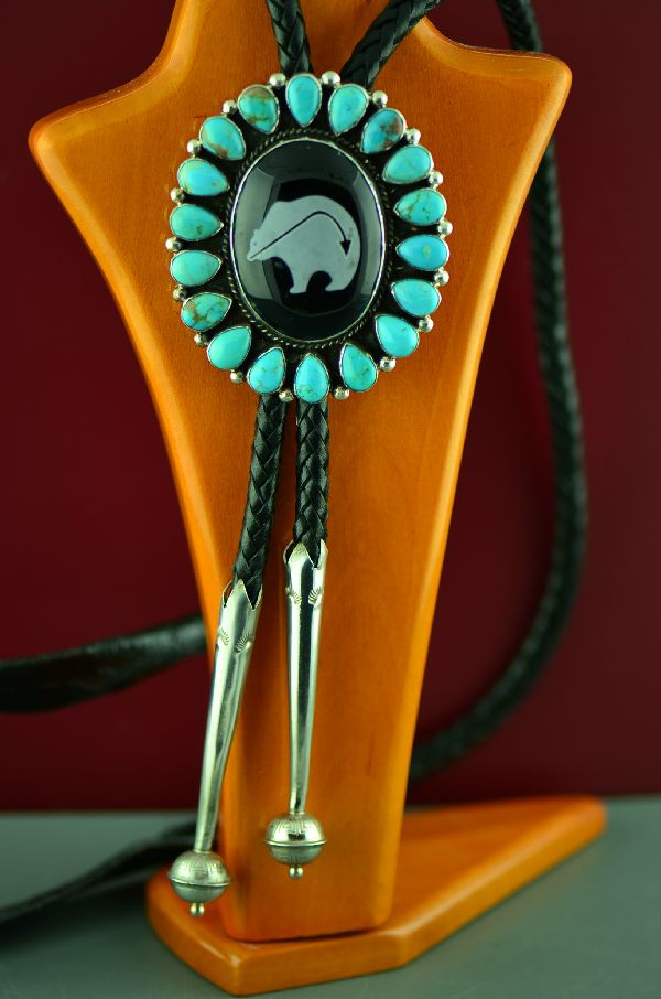 Navajo Exquisite Sterling Silver Kingman Turquoise and Black Onyx Spirit Line Bear Bolo Tie with Sterling Silver Tips by Will Denetdale (Private Collection)