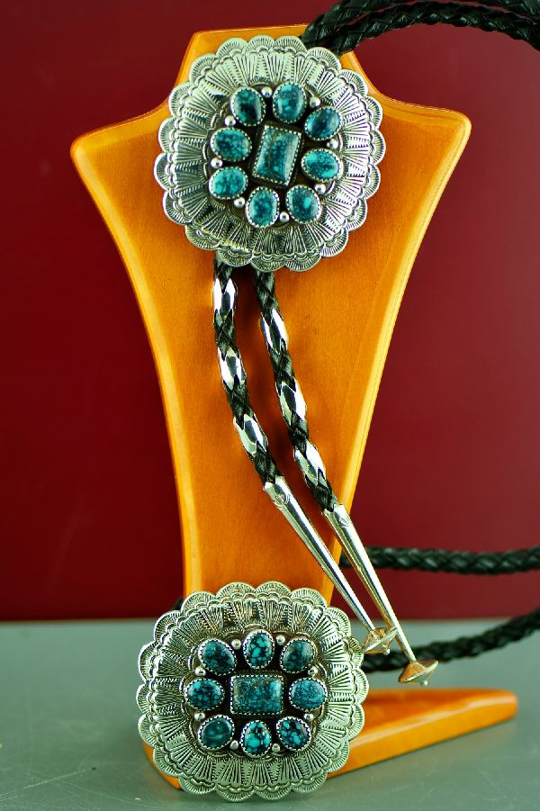 Navajo Sterling Silver Super X Turquoise Buckle and Bolo Tie with Sterling Silver Tips by Loren Begay  (Private Collection)