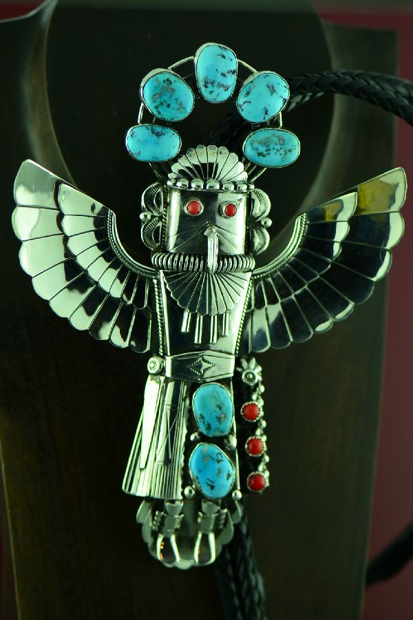 Navajo Phenomenal Sterling Silver Sleeping Beauty Turquoise and Mediterranean Coral Eagle Dancer Bolo Tie with Sterling Silver Tips by Will Denetdale  (Private Collection)