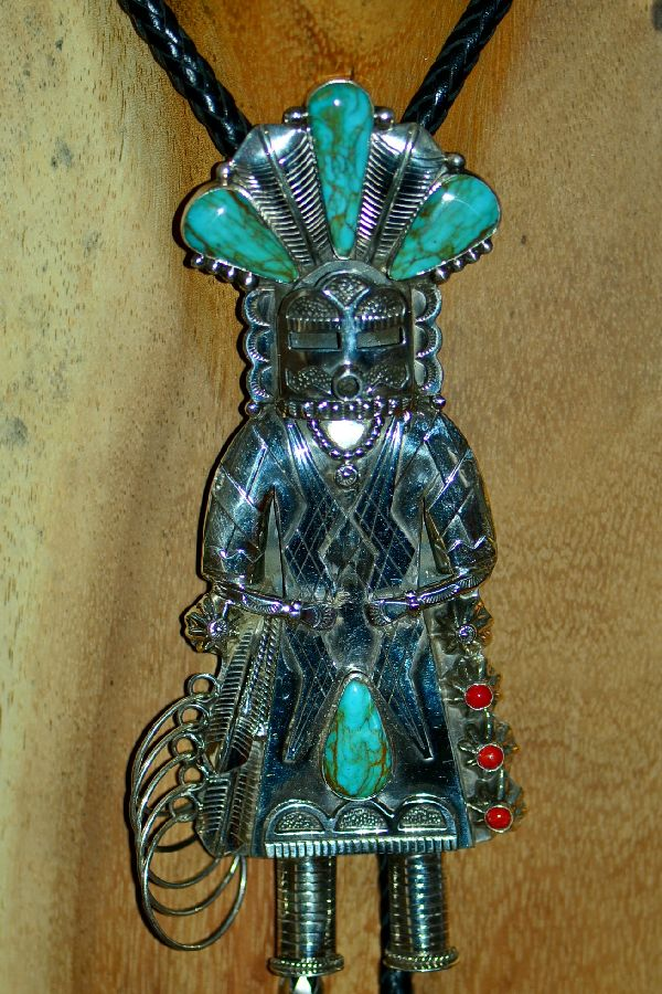 Navajo Phenomenal Sterling Silver Royston Turquoise and Mediterranean Coral Hoop Dancer Kachina Bolo Tie with Sterling Silver Tips by Will Denetdale (Private Collection)