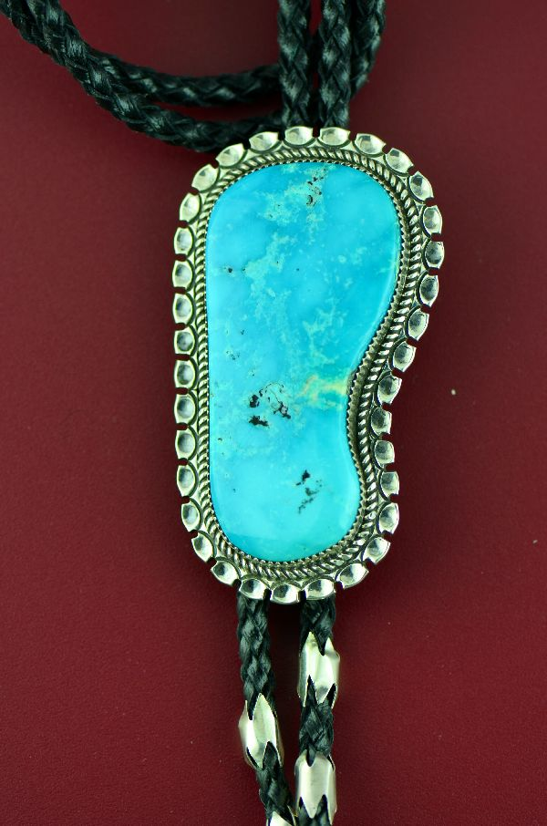Navajo – Exquisite Sterling Silver Blue Gem Turquoise Bolo Tie with Sterling Silver Tips by Garrison Boyd