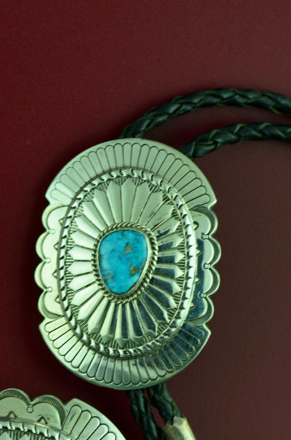 Navajo – Exquisite Sterling Silver Morenci Turquoise Buckle and Bolo Tie with Sterling Silver Tips by Will Denetdale  (Private Collection)