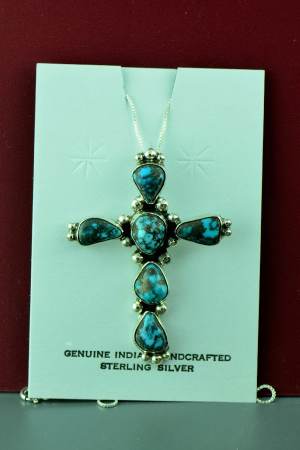 Navajo – Sterling Silver Natural Bisbee Turquoise Cross by Will Denetdale