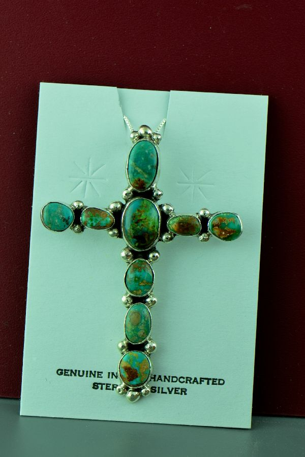 Navajo – Sterling Silver Natural Fox Turquoise Cross by Will Denetdale