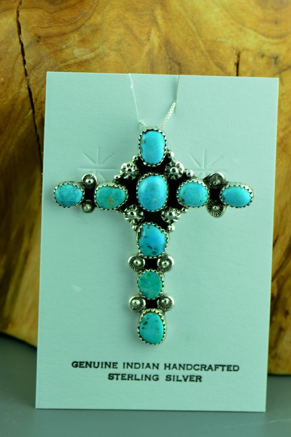 Navajo – Sterling Silver Morenci Turquoise Cross by Will Denetdale