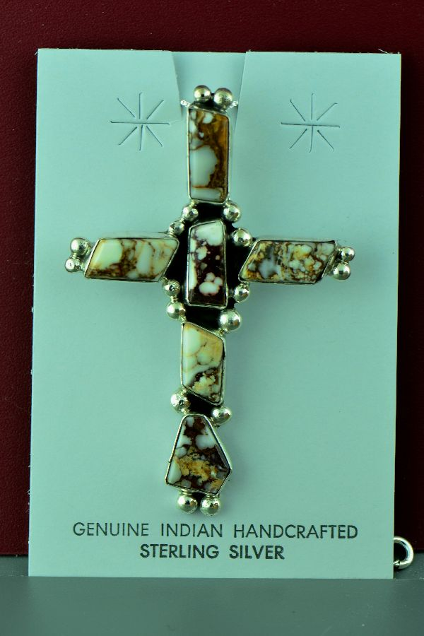 Navajo – Sterling Silver Wild Horse Magnesite Cross by Will Denetdale