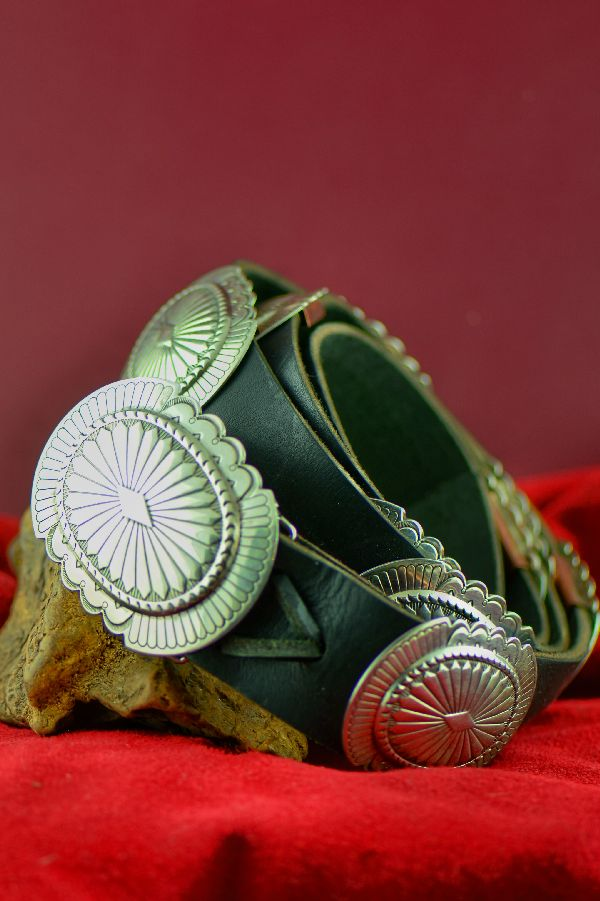 Navajo – Exquisite Heavy Weight Sterling Silver Concho Belt by Garrison Boyd (Private Collection)
