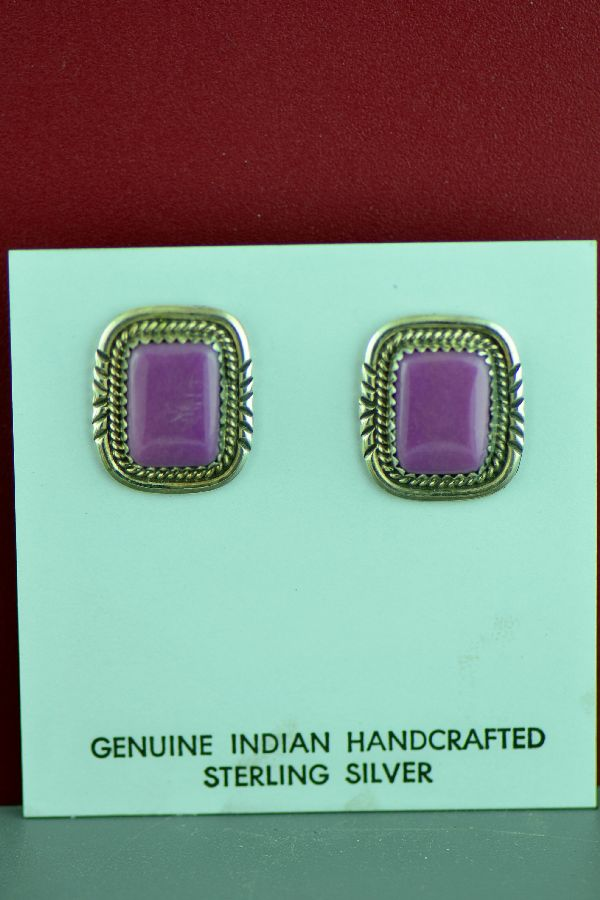 American Indian Sterling Silver Sugilite Earrings