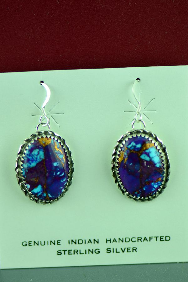 Authentic Native American Mohave Purple Turquoise Earrings by Alvin Joe