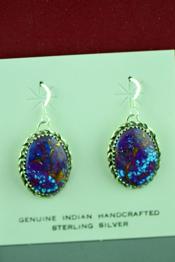 Navajo Sterling Silver Mohave Purple Turquoise Earrings by Alvin Joe