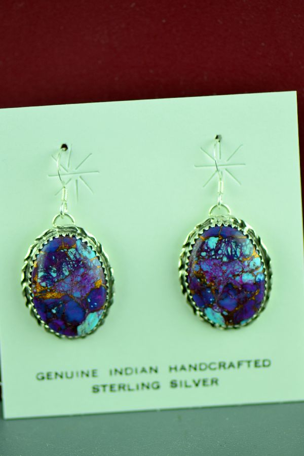 American Indian Sterling Silver Mohave Purple Turquoise Earrings by Alvin Joe