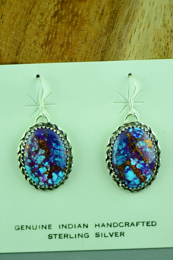 Navajo Mohave Purple Turquoise Earrings by Alvin Joe