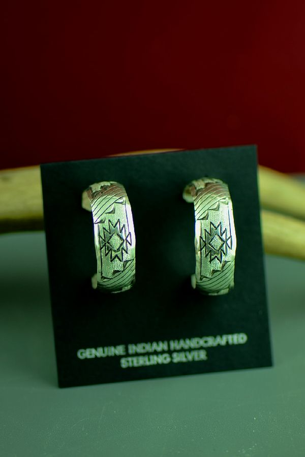 Navajo Sterling Silver Hand Stamped Rug Pattern Earrings
