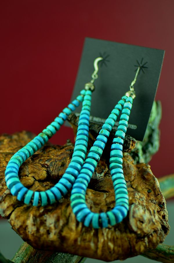 Native American Sterling Silver Kingman Turquoise Earrings by Marie Begay