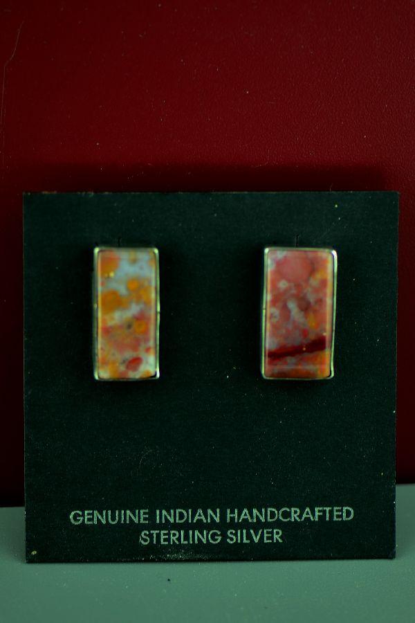 Navajo Sterling Silver Jasper Earrings