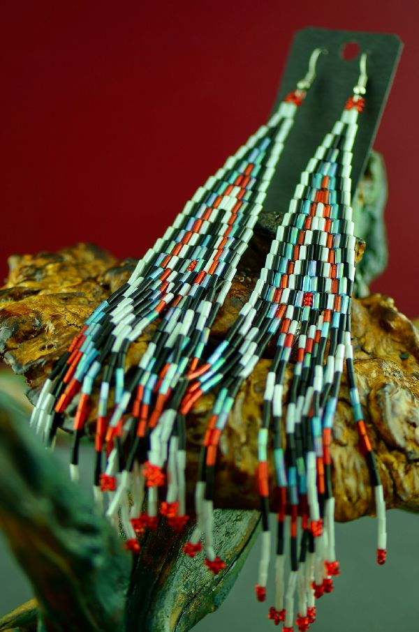 Pima Long Beaded Pow Wow Earrings