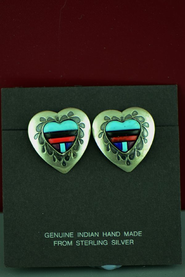 Zuni Inlay Heart Earrings