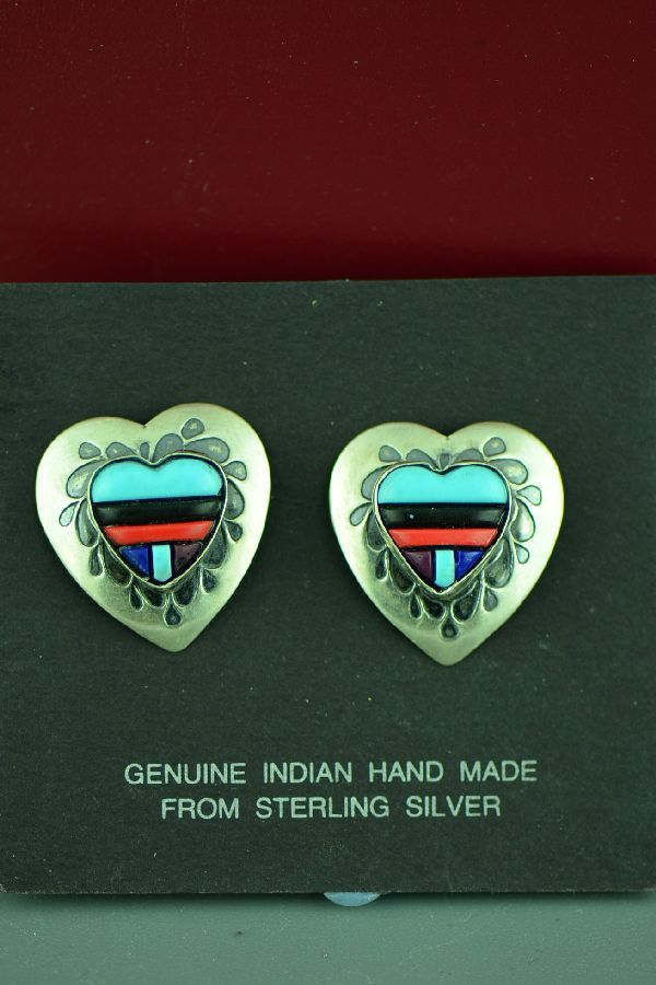 Zuni Sterling Silver Inlaid Turquoise, Lapis, Coral and Sugilite Heart Earrings