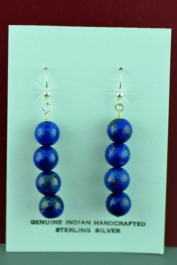 Navajo – Sterling Silver Lapis Earrings by Mary Begay