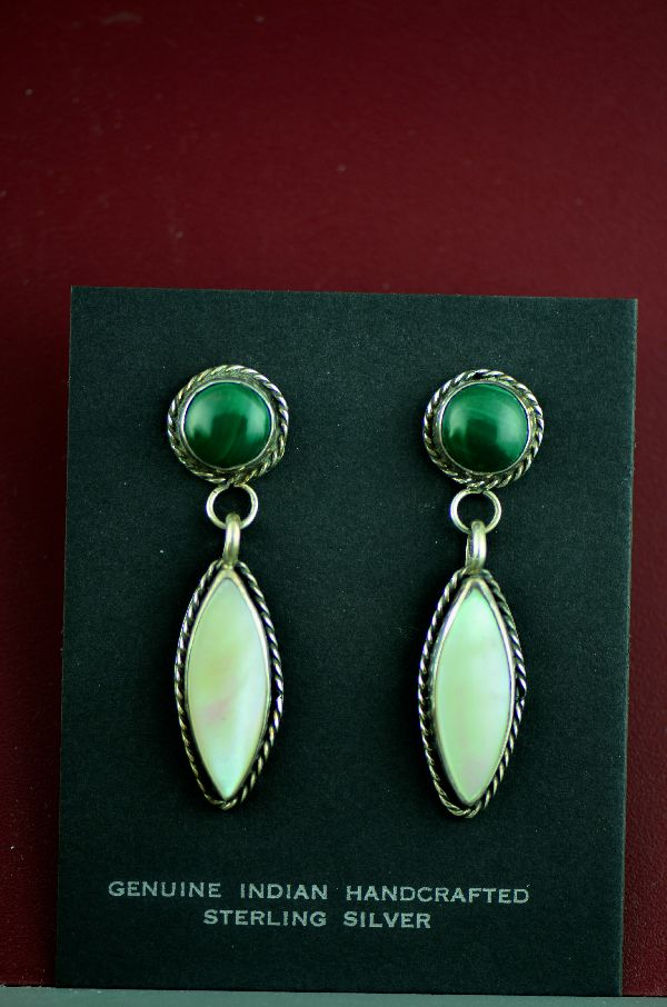 Navajo Malachite and Mother of Pearl Earrings