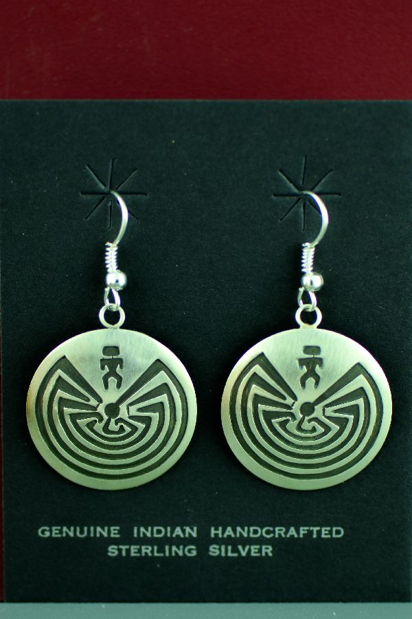 Navajo - Sterling Silver Man in the Maze Earrings by Stanley Gene