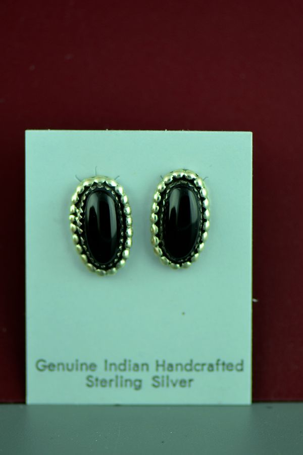 Navajo – Sterling Silver Black Onyx Earrings