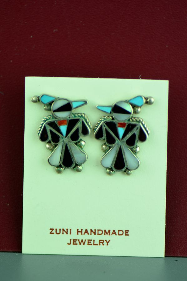 Zuni Inlay Thunderbird Earrings