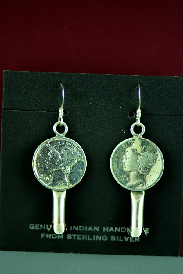 Navajo – Sterling Silver Squash Blossom Dime Earrings