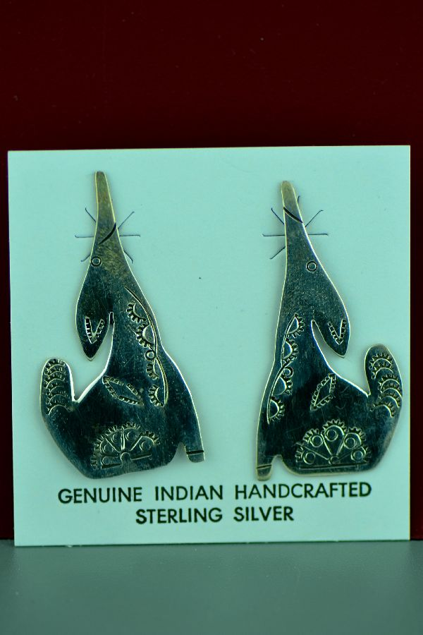 Navajo - Sterling Silver Coyote Earrings by Mary McCray