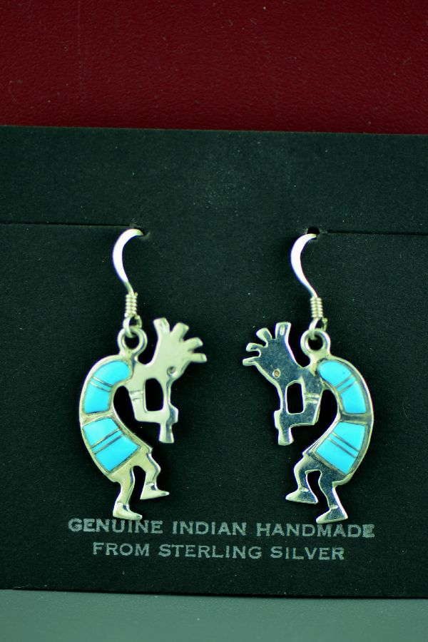 Navajo – Sterling Silver Inlaid Turquoise Kokopelli Earrings