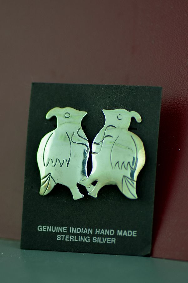 Navajo - Sterling Silver Quail Earrings by Mary McCray