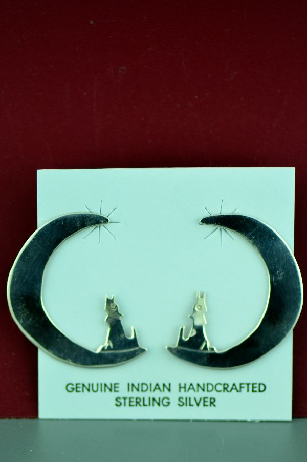 Navajo - Sterling Silver Coyotes Howling at the Moon Earrings by Mary McCray