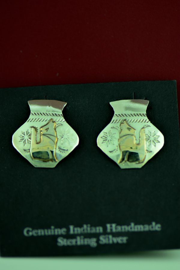 Navajo - Sterling Silver and 12ktGF Coyote Earrings