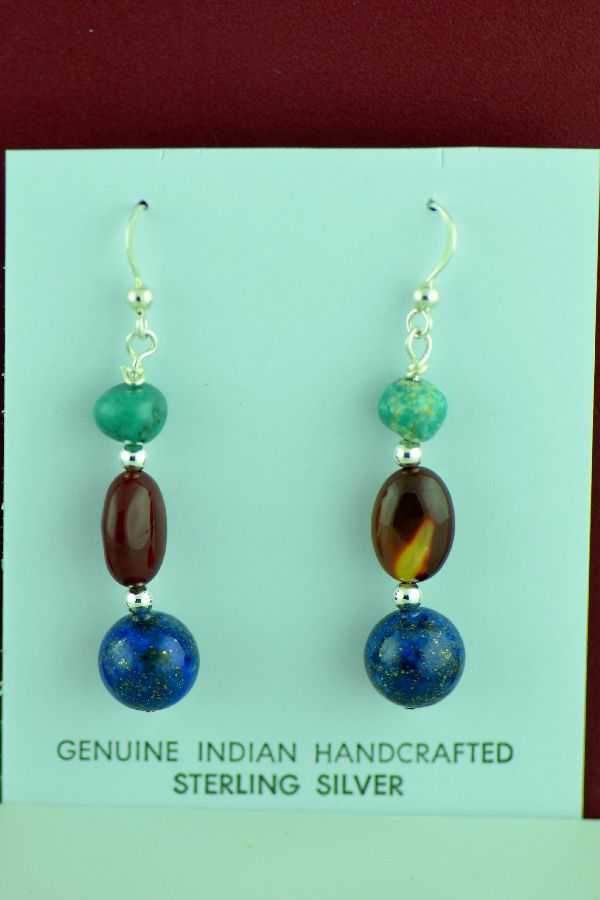 Navajo – Sterling Silver Turquoise, Lapis and Jasper Earrings by Mary Begay