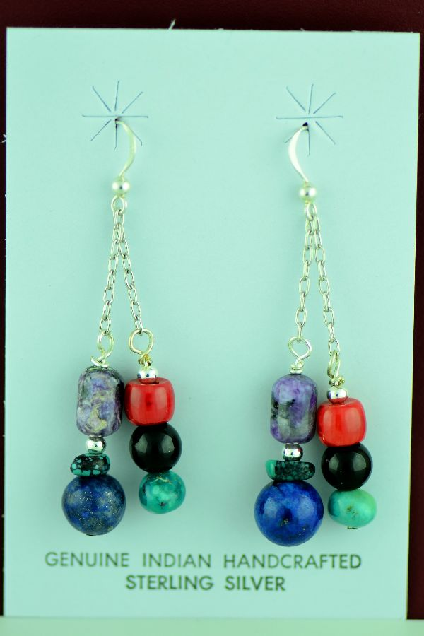 Navajo – Sterling Silver Turquoise, Charoite, Lapis, Apple Coral and Black Onyx Earrings by Mary Begay