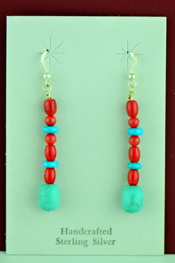 Navajo – Sterling Silver Turquoise and Apple Coral Earrings by Mary Begay