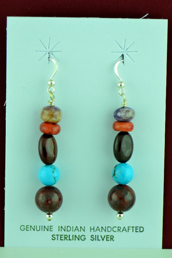 Navajo – Sterling Silver Turquoise, Jasper and Spiny Oyster Shell Earrings by Mary Begay