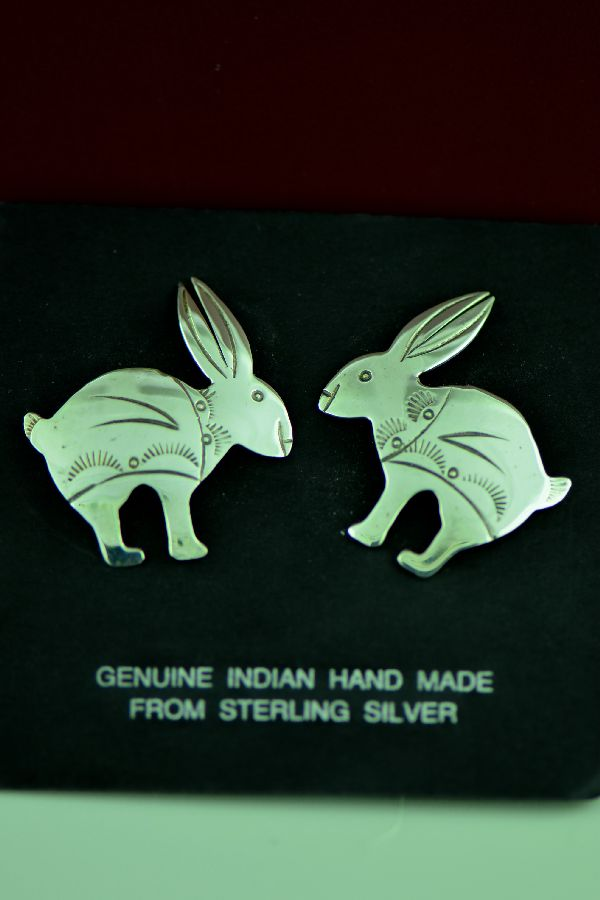 Navajo - Sterling Silver Rabbit Earrings by Mary McCray