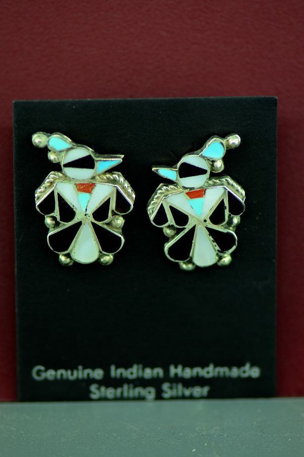 Zuni – Sterling Silver Inlaid Turquoise, Coral, Mother of Pearl and Jet Thunderbird Earrings