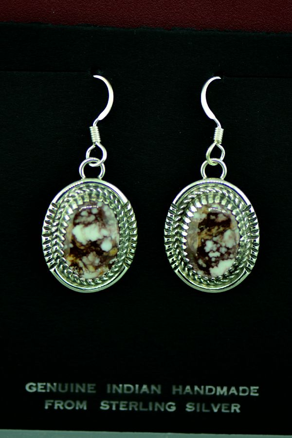Garrison Boyd Sterling Silver Wild Horse Magnesite Earrings, Navajo